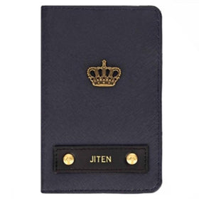 Personalized - Travel Passport Cover - Navy Blue - Crown - C.O.D NOT AVAILABLE-FASHION-PropShop24.com