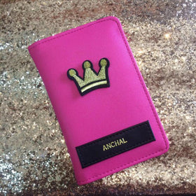 Personalized - Passport Cover - Matt Pink With Crown - C.O.D NOT AVAILABLE-FASHION-PropShop24.com