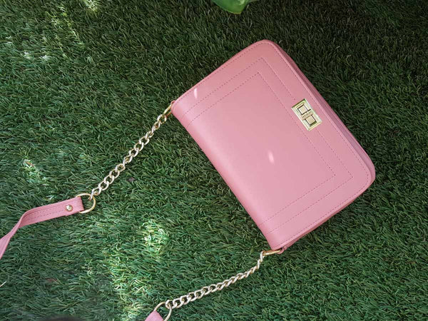 Florence Gold Chain Handbag - Pink-FASHION-PropShop24.com