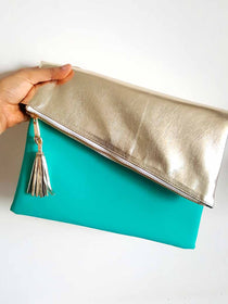 Teal and Gold Clutch-FASHION-PropShop24.com