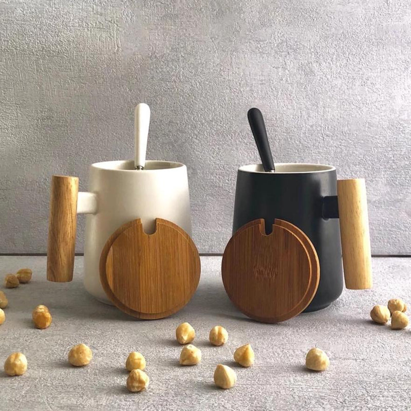 Amelia Wooden Handle Ceramic Mug-DINING + KITCHEN-PropShop24.com