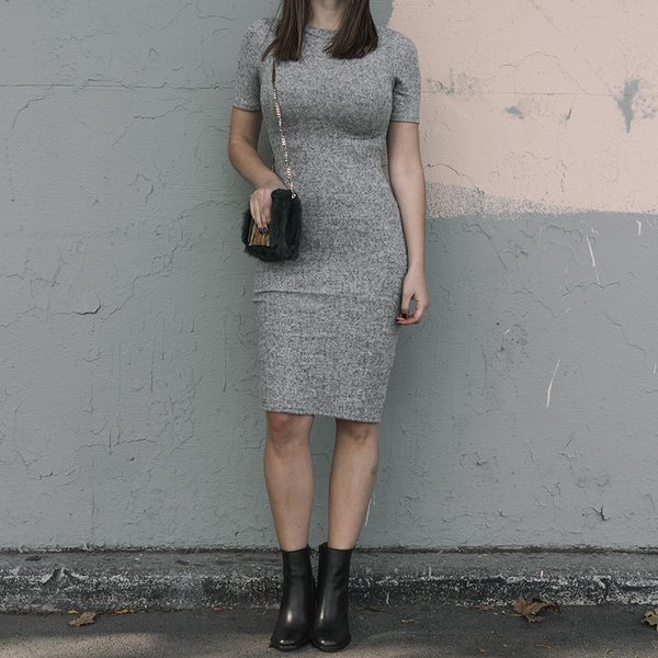 dress, grey dress, casual dress, fitted dress, cut out dress