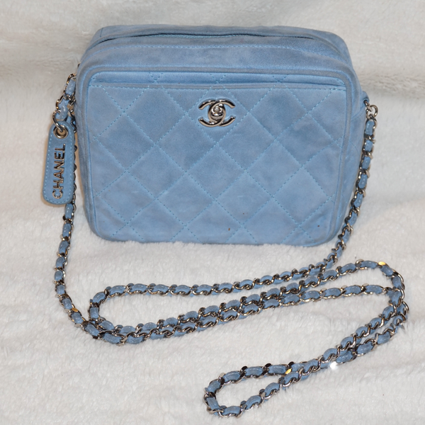 Chanel Vintage Suede Light Blue Cross Body Bag