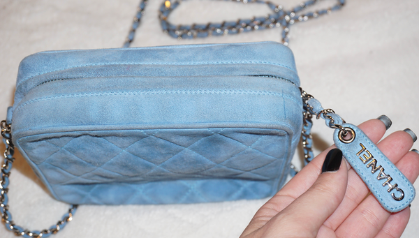 Chanel Vintage Suede Light Blue Cross Body Bag - Kaitlyn Athena