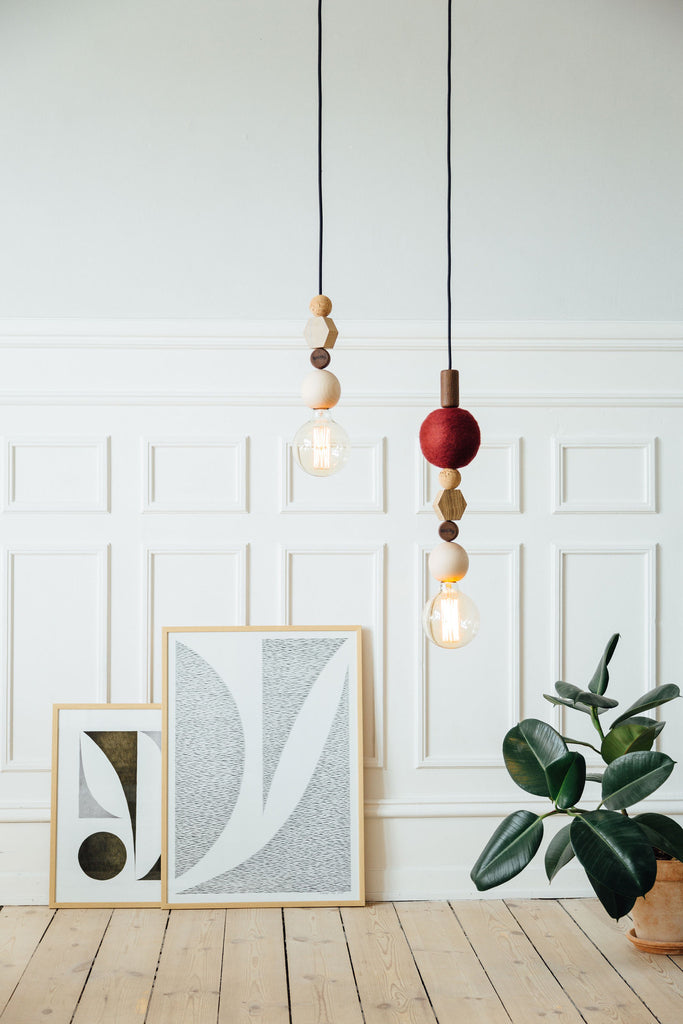 Interior style with a combination of the HAENG BIRCH- and BORDEAUX pendant.