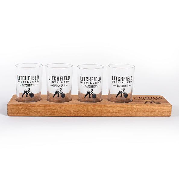 Flight Board with Tasting Glasses