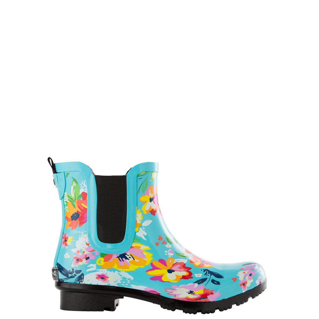 ROMA CHELSEA TURQUOISE FLORAL WOMEN'S RAIN BOOTS