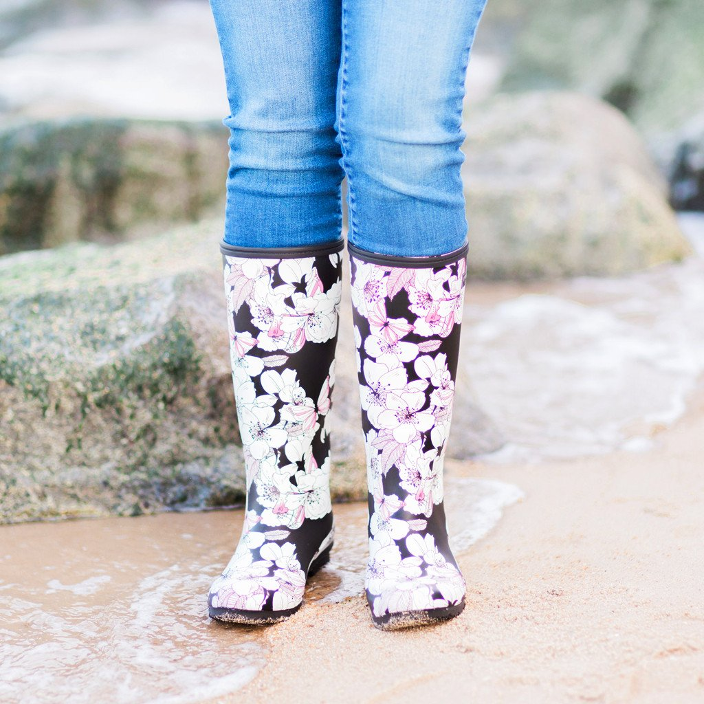 ROMA CLASSIC BLACK FLORAL BUTTERFLY WOMEN'S RAIN BOOTS