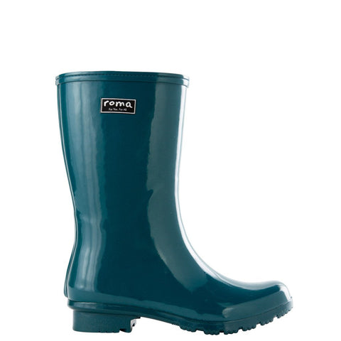 ROMA CHELSEA LACE TEAL WOMEN'S RAIN BOOTS