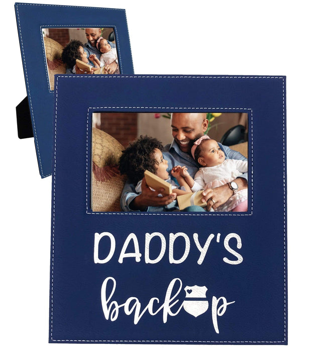 Daddy's Backup Thin Blue Line Police Picture Frame