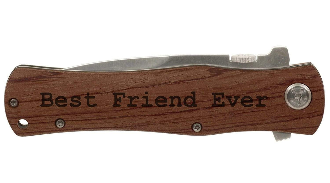 Engraved Folding Wood Handle Knife