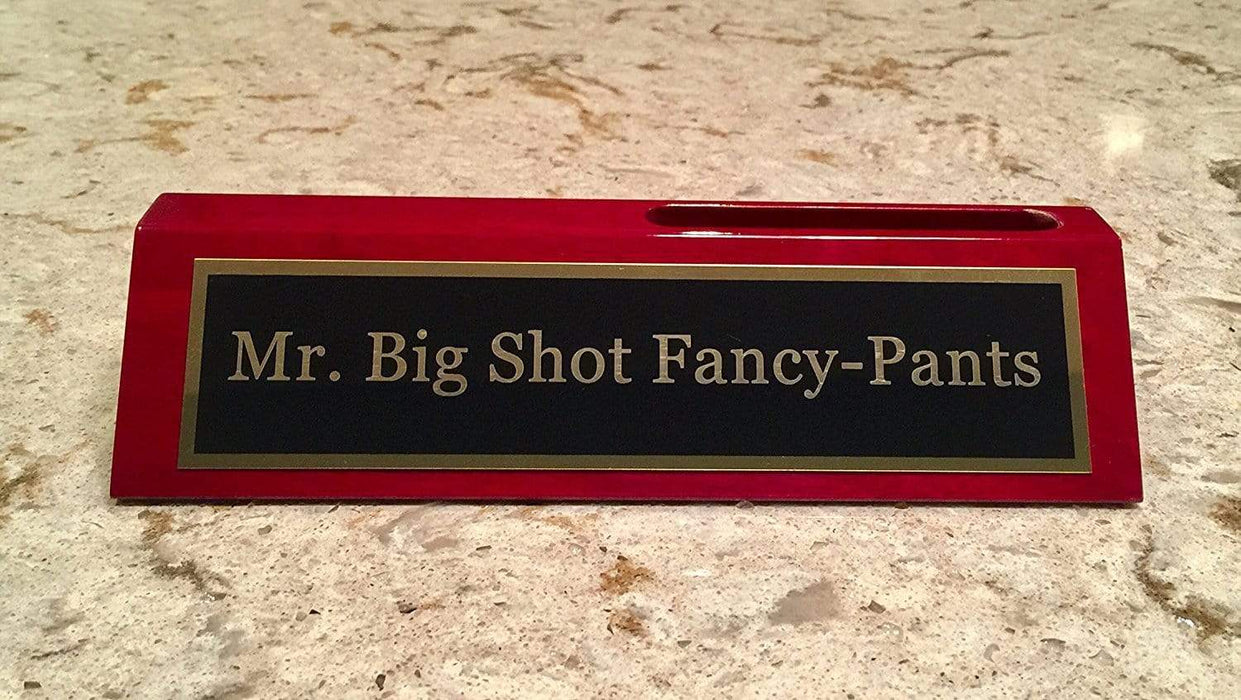 Mr. Big Shot Fancy Pants Desk Plate w/ Business Card Holder