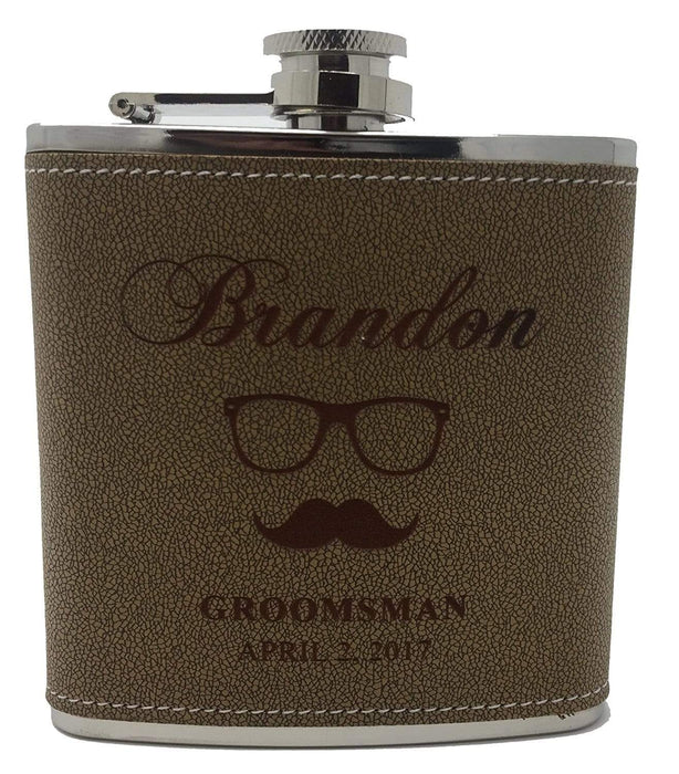 Tan Hide-stitch Groomsmen & Best Man Flask