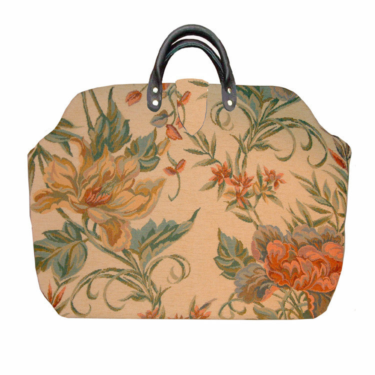 FLORAL ON CREAM CHENILLE TAPESTRY CARPET BAG