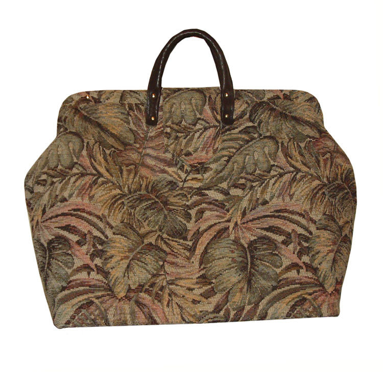 TAN & GREEN TROPICAL CHENILLE TAPESTRY CARPET BAG