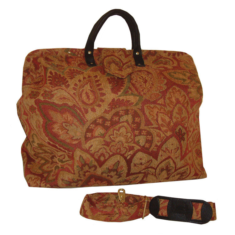 ROSE FLORAL CHENILLE TAPESTRY CARPET BAG