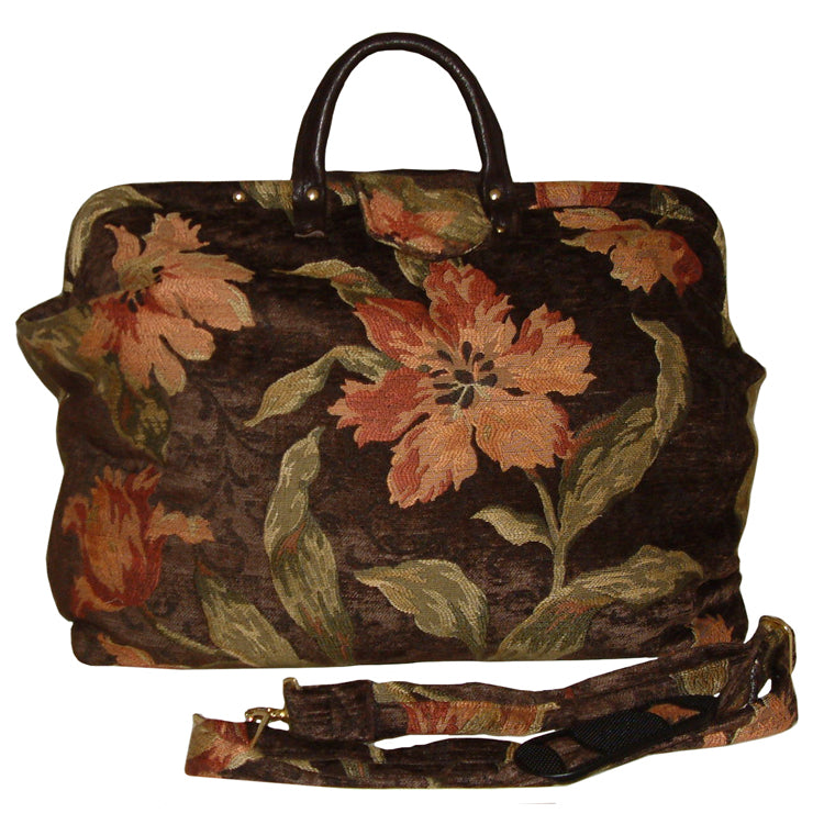 PEACH FLORAL ON BROWN CHENILLE TAPESTRY CARPET BAG