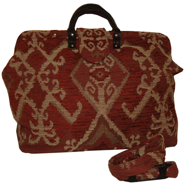 TAN & BRICK RED KILIM CHENILLE CARPET BAG
