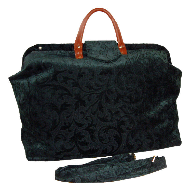 FOREST GREEN VINES CHENILLE TAPESTRY CARPET BAG