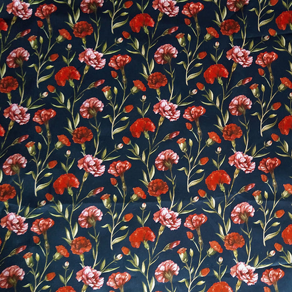 RED FLORAL ON MIDNIGHT BLUE 'DURHAM GRACE' LIBERTY LAWN COTTON HANDKERCHIEF