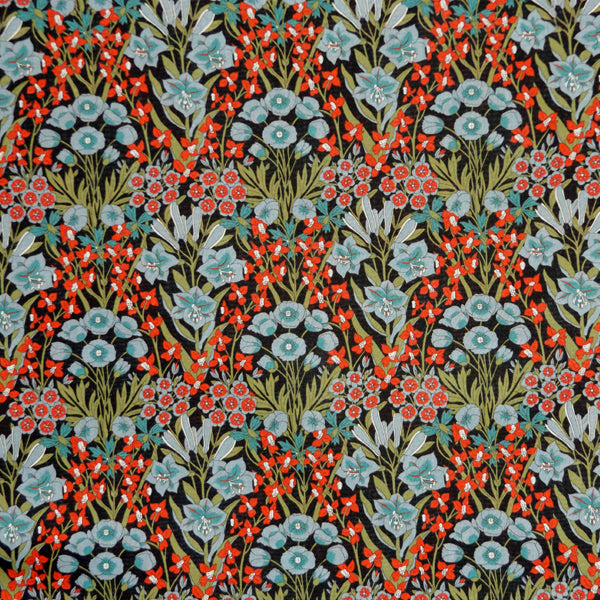 RED & BLUE FLORAL 'MOUNTAIN PRIMROSE' LIBERTY LAWN COTTON HANDKERCHIEF