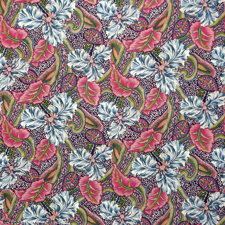 ROSE & BLUE FLORAL 'STAR BURST' LIBERTY LAWN COTTON HANDKERCHIEF