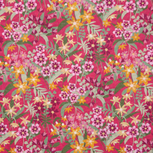PINK FLORAL 'ANTONIA BLOOM' LIBERTY LAWN COTTON HANDKERCHIEF