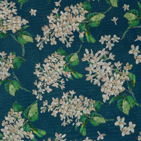 DEEP TEAL FLORAL 'ARCHIVE LILAC' LIBERTY LAWN COTTON HANDKERCHIEF