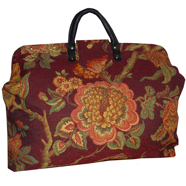 BIG FLOWER MULTICOLORED WOVEN TAPESTRY CARPET BAG