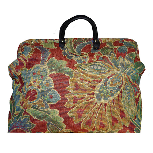 JEWEL TONE BLOOMS CHENILLE TAPESTRY CARPET BAG