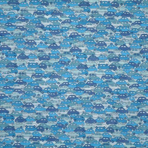 BLUE 'CARS' LIBERTY LAWN COTTON POCKET SQUARE HANDKERCHIEF