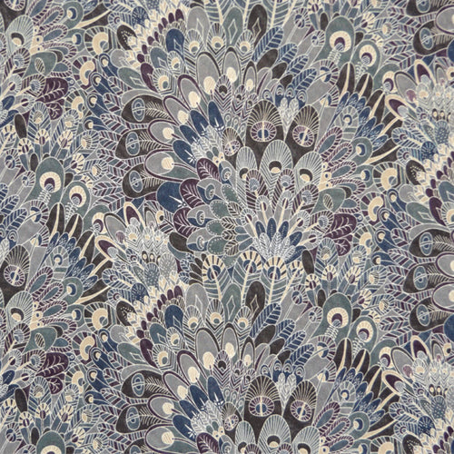 BLUE & CHARCOAL FEATHER PRINT 'EBEN' LIBERTY LAWN COTTON HANDKERCHIEF