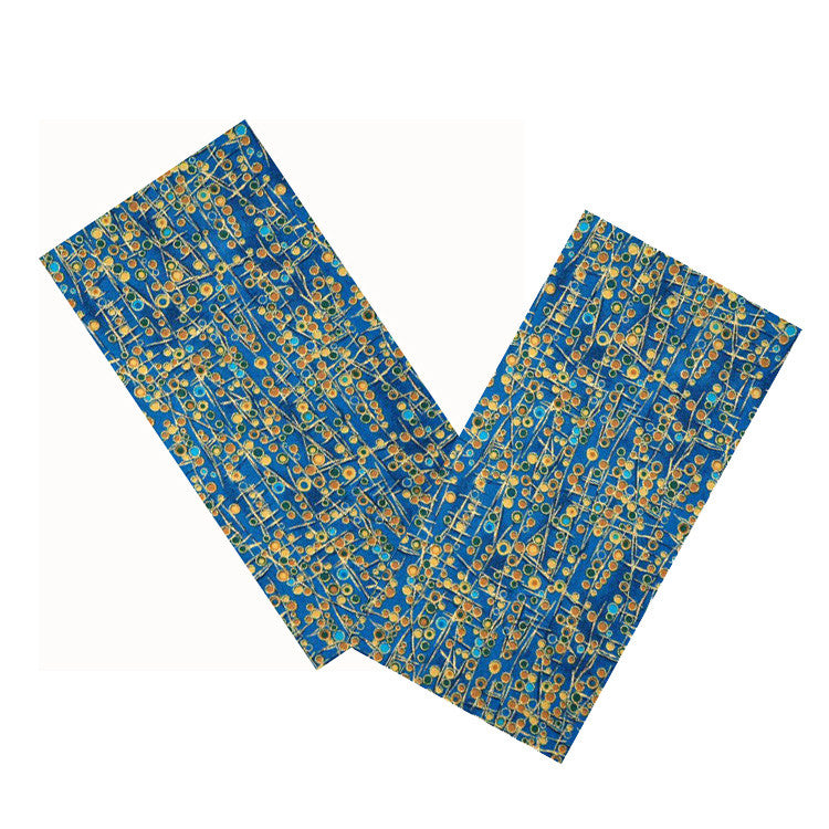 BLUE & GOLD ABSTRACT NAPKIN SET