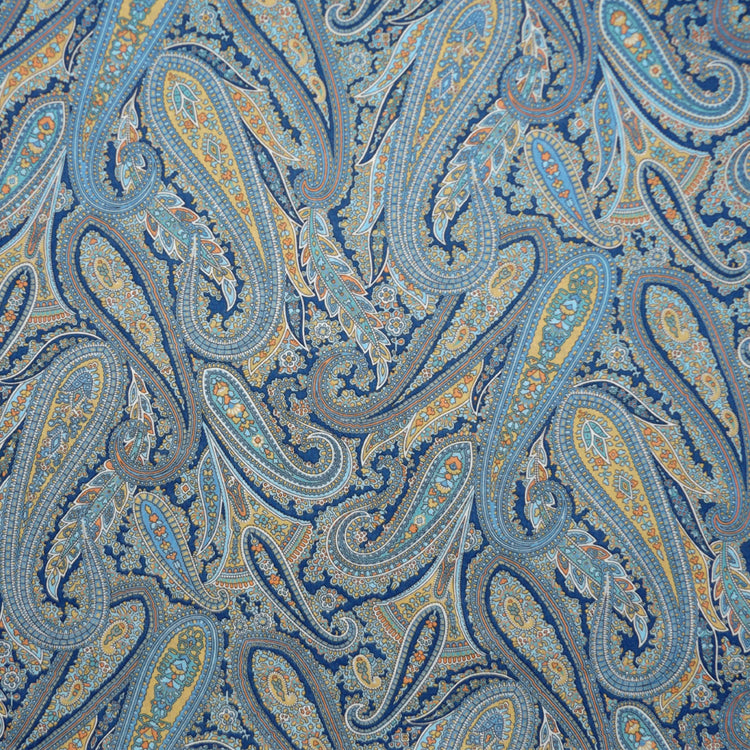 BLUE & GOLD 'PAISLEY PARK' LIBERTY LAWN COTTON HANDKERCHIEF