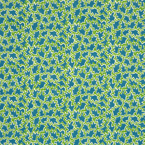 GREEN & BLUE LEAF PRINT 'TREE TOPS' LIBERTY LAWN COTTON HANDKERCHIEF