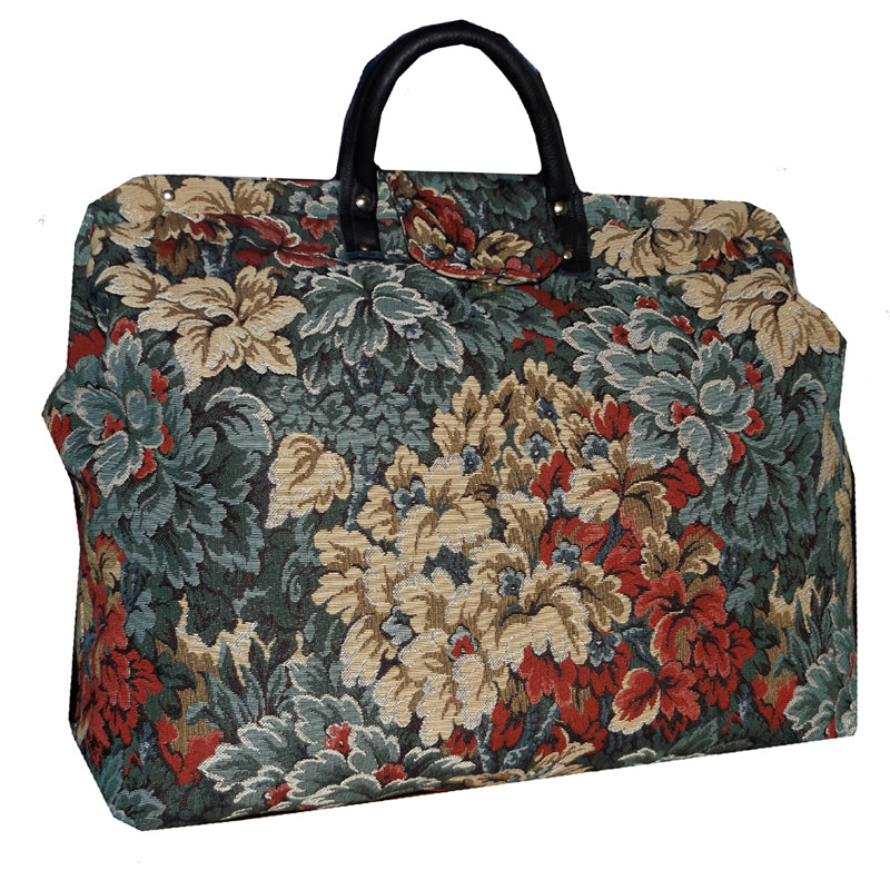 BLUE & MULTICOLOR LEAFY FLORAL TAPESTRY CARPET BAG