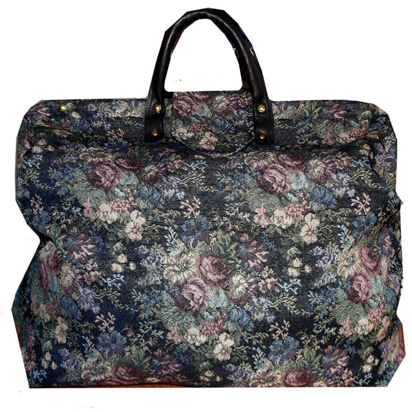 BLUE & PURPLE FLORAL TAPESTRY CARPET BAG