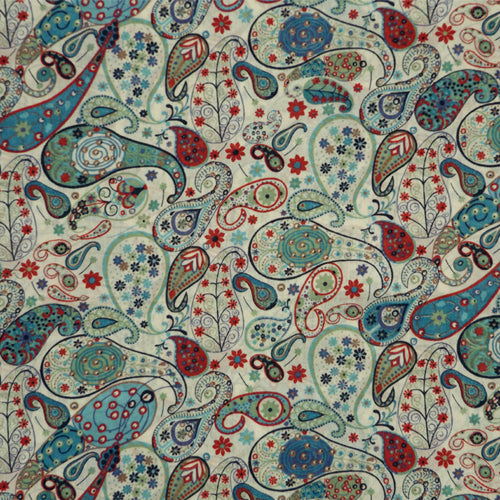 BLUE & RED PAISLEY 'MARK' LIBERTY LAWN COTTON POCKET SQUARE HANDKERCHIEF