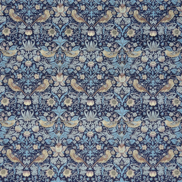 BLUE & TAUPE 'STRAWBERRY THIEF' LIBERTY LAWN COTTON HANDKERCHIEF