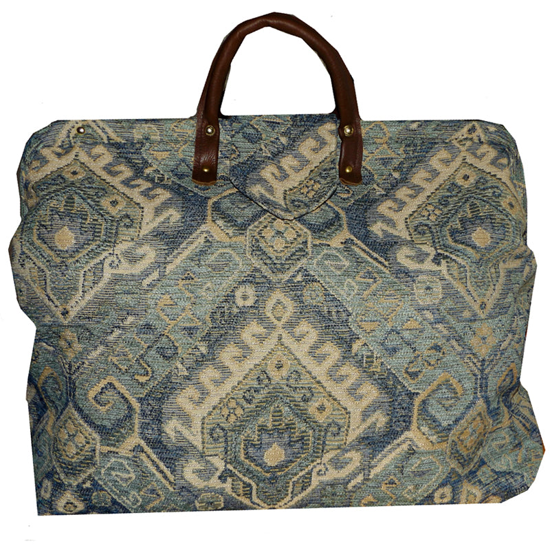 BLUE & TAN SOUTHWEST MOTIF CHENILLE TAPESTRY CARPET BAG