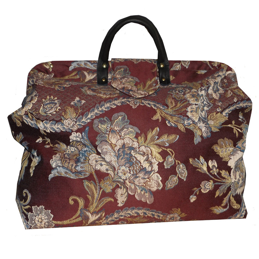 BLUE & WHITE FLORAL ON BURGUNDY WOVEN TAPESTRY CARPET BAG