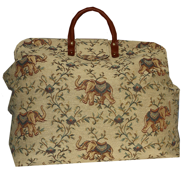 BOMBAY ELEPHANTS ON GOLDEN SAND TAPESTRY CARPET BAG