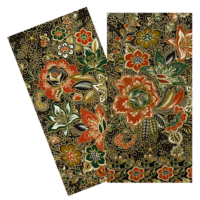 BRICK & BLACK FLORAL BATIK NAPKIN SET