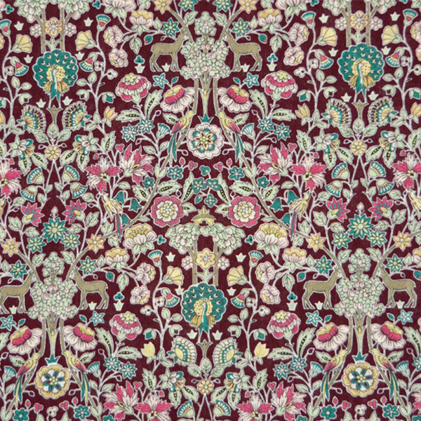 BROWN WHIMSICAL PRINT 'PALMEIRA' LIBERTY LAWN COTTON HANDKERCHIEF