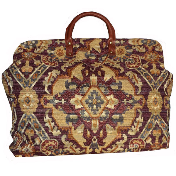 BURGUNDY, TAN & GOLD MEDALLION WOVEN TAPESTRY CARPET BAG