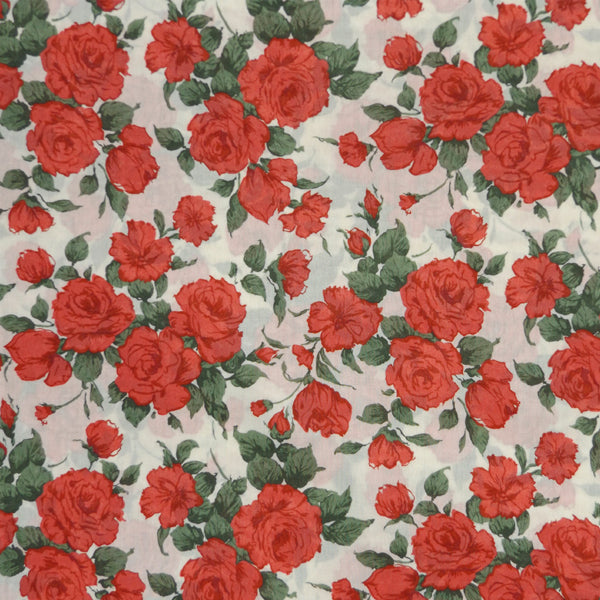 RED ROSES 'CARLINE' LIBERTY LAWN COTTON HANDKERCHIEF