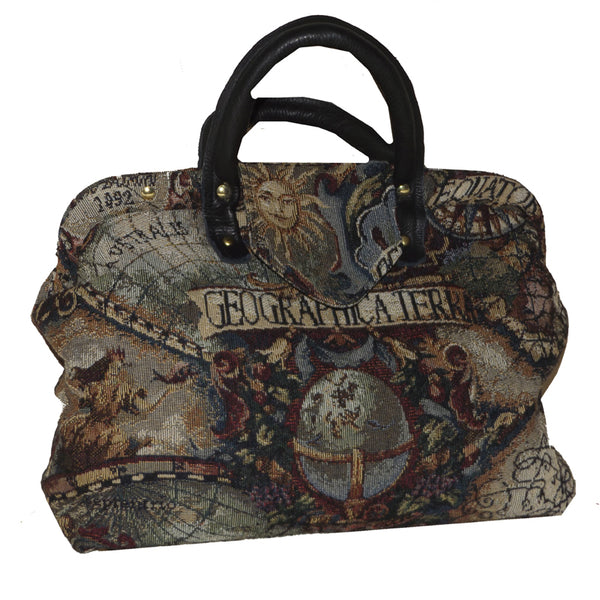 Magellan's Map Handbag Tapestry Carpet Bag