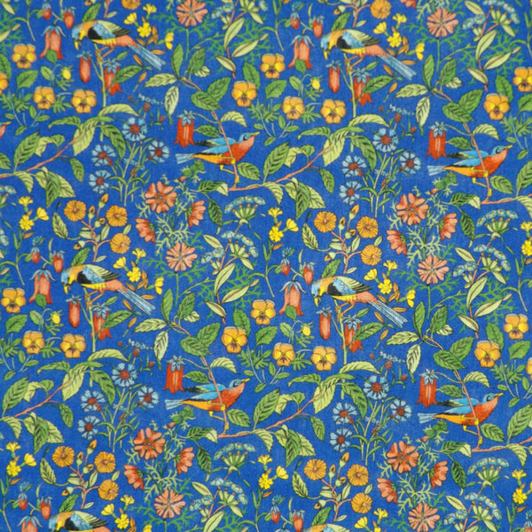 BLUE & MULTICOLOR PRINT 'CATESBY' LIBERTY LAWN COTTON MASK