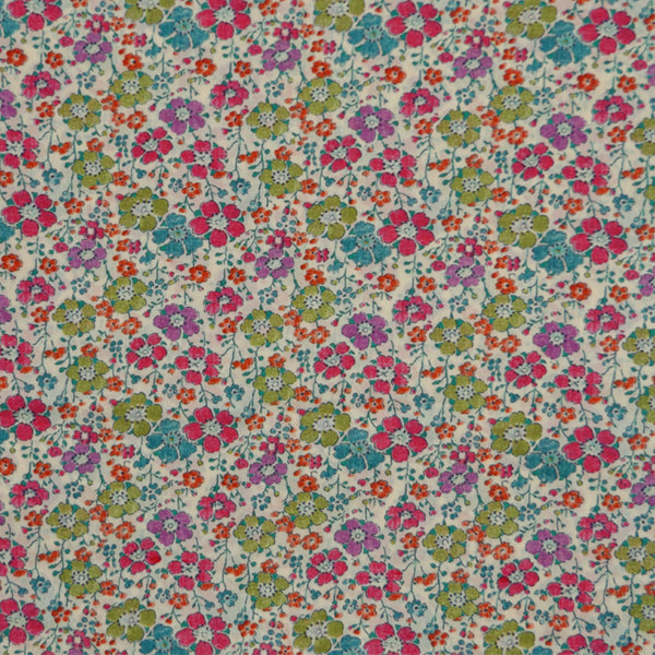 BRIGHT FLORAL 'CLARISSE' LIBERTY LAWN COTTON HANDKERCHIEF