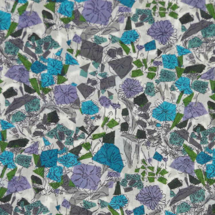 BLUE & MULTICOLOR FLORAL 'CONFETTI FLOWERS' LIBERTY LAWN COTTON POCKET SQUARE HANDKERCHIEF
